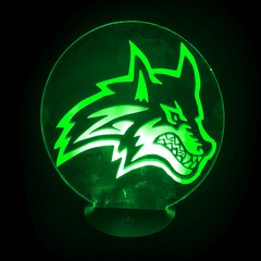 Seawolf-Shaped, Color-Changing, Acrylic, 3D(TM) L.E.D. Lamp(Green Color)