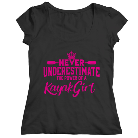 """Never Underestimate The Power Of A Kayak Girl"" Ladies' Classic Black Shirt"