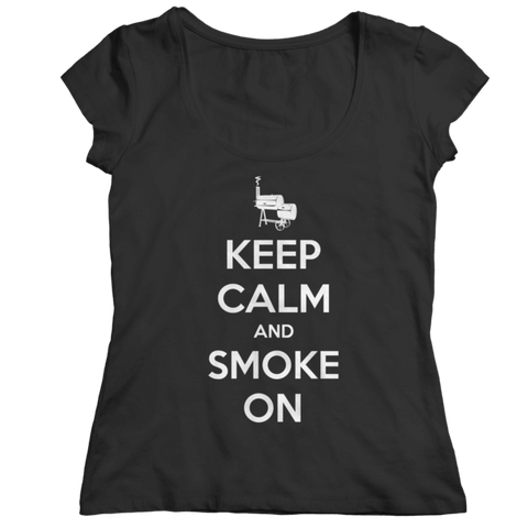 """Keep Calm And Smoke On"" Ladies' Classic Black Shirt"