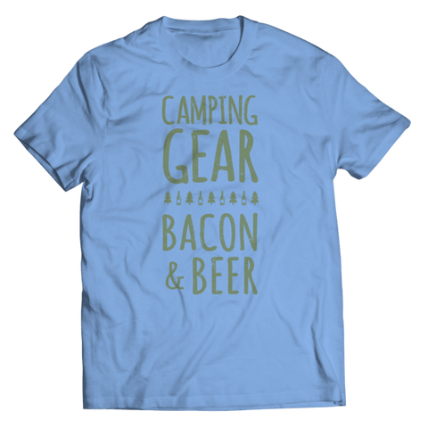 """Camping Gear, Bacon & Beer"" Unisex Light Blue T Shirt"