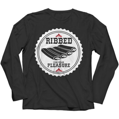 """Ribbed For Your Pleasure"" Long-Sleeved Black T Shirt"