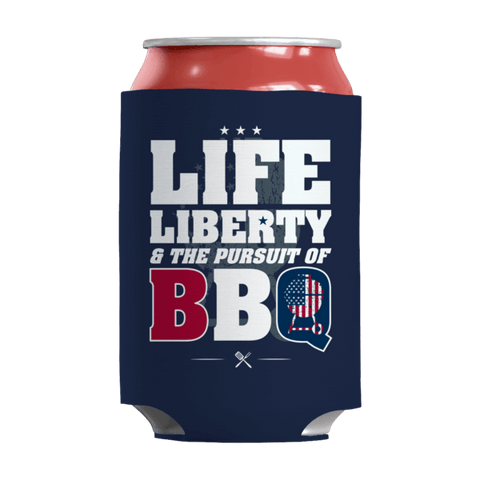 """Life, Liberty & The Pursuit Of BBQ"" 12 Oz Soda/Adult Beverage Can & Stumpy Bottle Insulator/Sleeve/Wrap In Navy Blue"