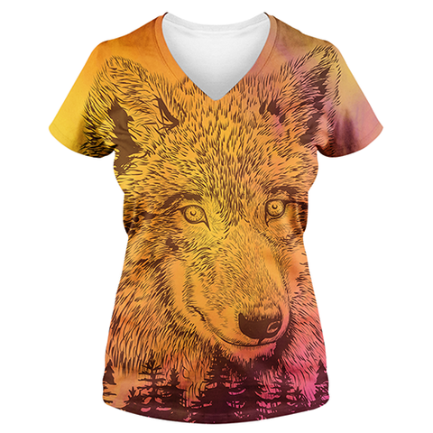 """Mountain Wolf"", Gold And White, Women's V Neck Sublimation T Shirt/Tee"