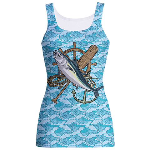 """Wave-Patterned"" Blue And White Sublimation Tank Top"