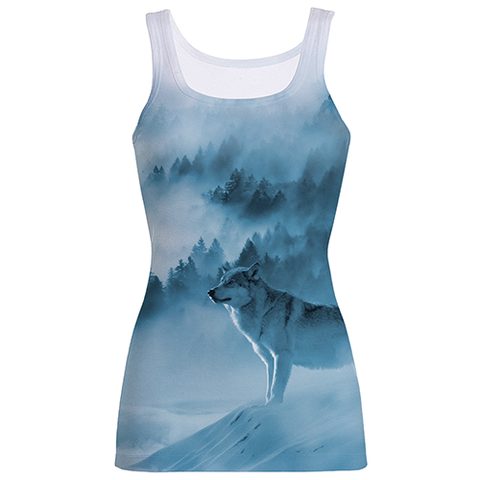 """Wolf In A Forest"", Blue And White Sublimation Tank Top"