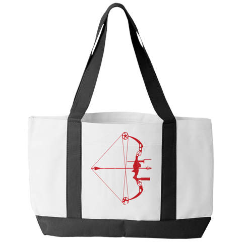 """Bow Hunter Flag"" Polyester Tote Bag With 2 Self-Fabric Handles And An Open Front Pocket"