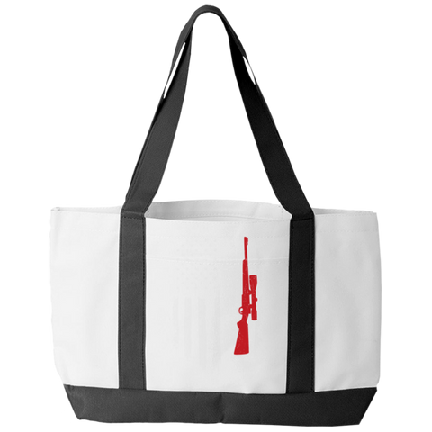 """Hunter Flag"" Polyester Tote Bag With 2 Self-Fabric Handles And An Open Front Pocket"