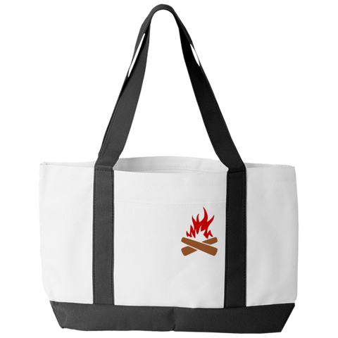"""This Is My Bonfire"" Polyester Tote Bag With 2 Self-Fabric Handles And An Open Front Pocket"