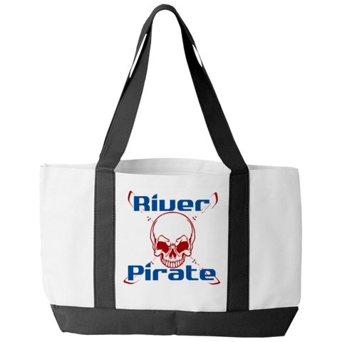 """River Pirate"" Polyester Tote Bag With 2 Self-Fabric Handles And An Open Front Pocket"