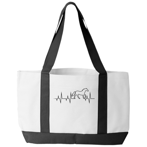 """Horse Pulse"" Polyester Tote Bag With 2 Self-Fabric Handles And An Open Front Pocket"