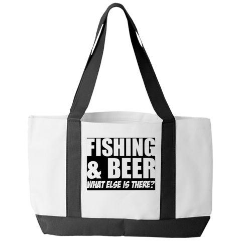 """Fishing & Beer: What Else Is There"" Polyester Tote Bag With 2 Self-Fabric Handles And An Open Front Pocket"