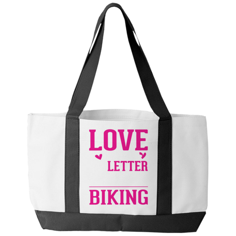 """Love Is A 6 Letter Word: Biking"" Polyester Tote Bag With 2 Self-Fabric Handles And An Open Front Pocket"