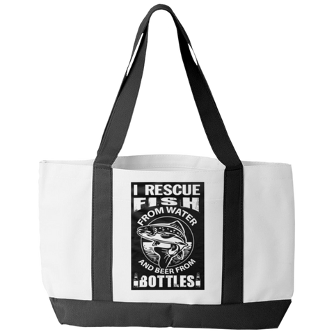 """I Rescue Fish From Water And Beer From Bottles"", White-Colored Polyester Tote Bag With 2 Self-Fabric Handles And An Open Front Pocket"