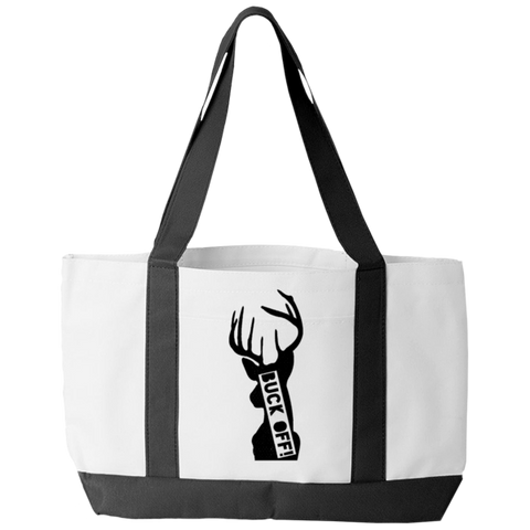 """Buck Off"" Polyester Tote Bag With 2 Self-Fabric Handles And An Open Front Pocket"