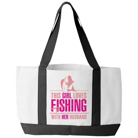 """This Girl Loves Fishing With Her Husband"" Polyester Tote Bag With 2 Self-Fabric Handles And An Open Front Pocket"