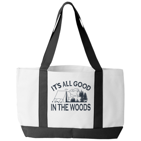 """It's All Good In The Woods"" Polyester Tote Bag With 2 Self-Fabric Handles And An Open Front Pocket"