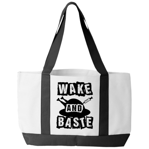 """Wake And Baste"", White-Colored Polyester Tote Bag With 2 Self-Fabric Handles And An Open Front Pocket"