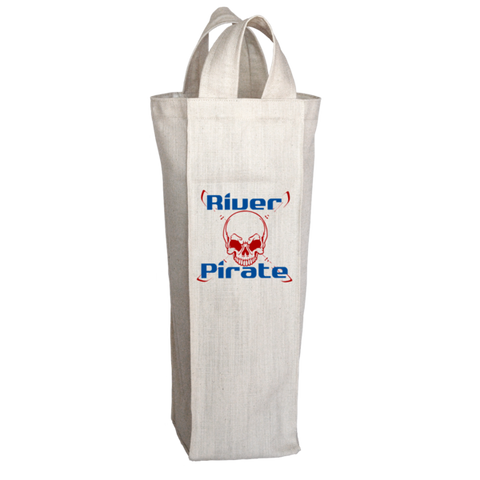 """River Pirate"", 2 Bottle Polyester Wine Tote Bag With 2 Self-Fabric Handles"