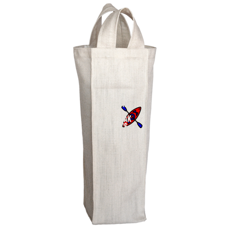 """Money Can't Buy Happiness, But It Can Buy A Kayak And That's Pretty Close"", 2 Bottle Polyester Wine Tote Bag With 2 Self-Fabric Handles"