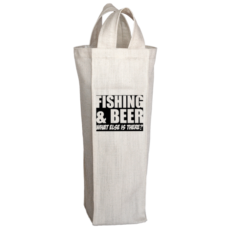 """Fishing & Beer: What Else Is There?"", 2 Bottle Polyester Wine Tote Bag With 2 Self-Fabric Handles"