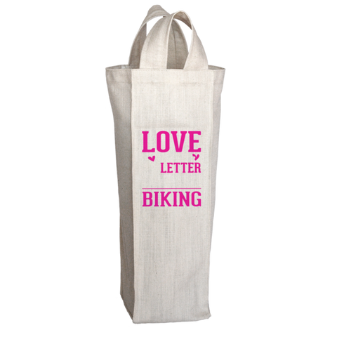 """Love Is A 6 Letter Word: Biking"", 2 Bottle Polyester Wine Tote Bag With 2 Self-Fabric Handles"