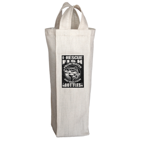 """I Rescue Fish From Water And Beer From Bottles"", 2 Bottle Polyester Wine Tote Bag With 2 Self-Fabric Handles"