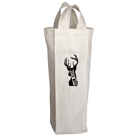 """Buck Off"", 2 Bottle Polyester Wine Tote Bag With 2 Self-Fabric Handles"