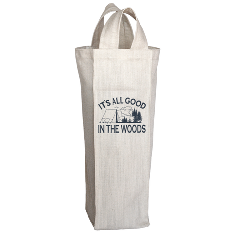 """It's All Good In The Woods"", 2 Bottle Polyester Wine Tote Bag With 2 Self-Fabric Handles"