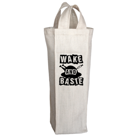 """Wake And Baste"", 2 Bottle Polyester Wine Tote Bag With 2 Self-Fabric Handles"