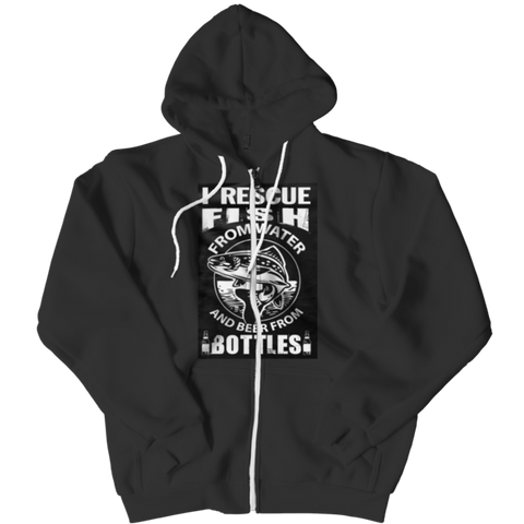 """I Rescue Fish From Water And Beer From Bottles"", Black-Colored Custom Zipper Hoodie"