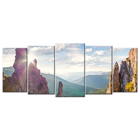 """The Sun Shines"", 5 Panel Canvas Wall Art In L And XL Sizes"