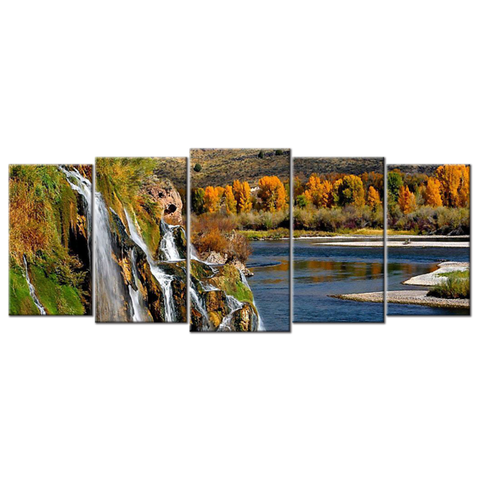 """Waterfalls"", 5 Panel Canvas Wall Art In L And XL Sizes"