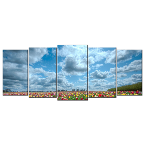 """Tulips"", 5 Panel Canvas Wall Art In L And XL Sizes"