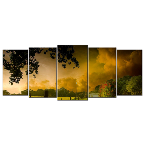 """Village Scenery/Beautiful Landscape"", 5 Panel Canvas Wall Art In L And XL Sizes"