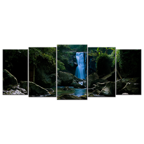 """Waterfall"", 5 Panel Canvas Wall Art In L And XL Sizes"