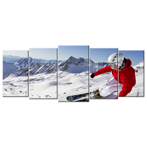 """Snow Mountains, Blue Skies, Skiing Carving"", 5 Panel Canvas Wall Art In L And XL Sizes"