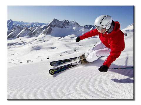"""Snow Mountains, Blue Skies, Skiing Carving"", 1 Panel Canvas Wall Art In L And XL Sizes"