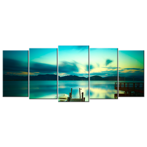 """Wooden Pier With Boat On A Calm Lake"" Five(5) Panel Canvas Wall Art"