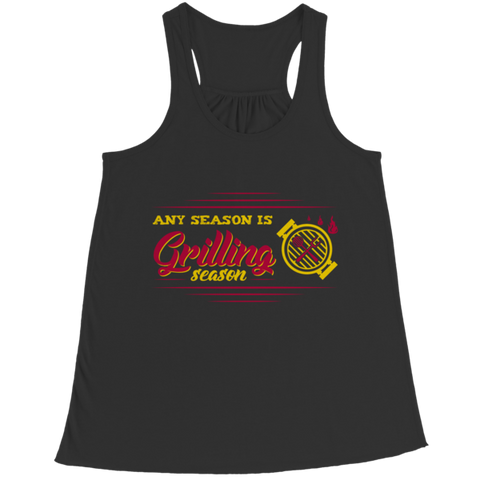 """Any Season Is Grilling Season"", Bella Flowy Black Racerback Tank Top"