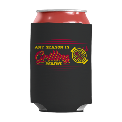 """Any Season Is Grilling Season"", Black-Colored, 12 Oz Soda And Adult Beverage Can Insulator/Sleeve/Wrap"