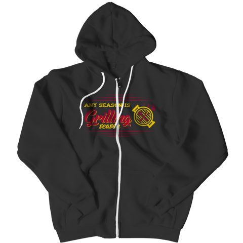 """Any Season Is Grilling Season"", Black-Colored Zipper Hoodie"