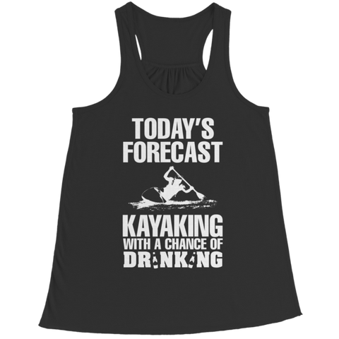 """Today's Forecast: Kayaking, With A Chance Of Drinking"" Bella Flowy Racerback Black Tank Top"