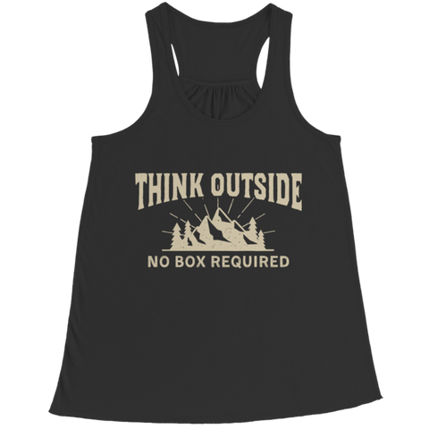 """Think Outside: No Box Required"" Bella Flowy Racerback Black Tank Top"
