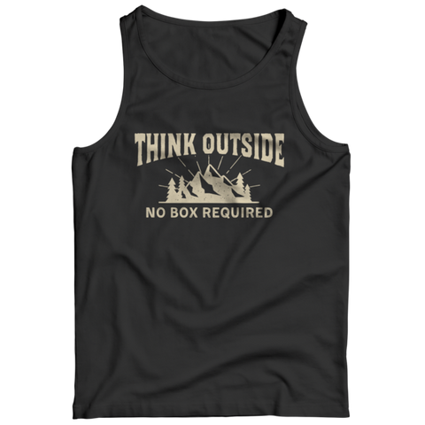 """Think Outside: No Box Required"" Black Tank Top"