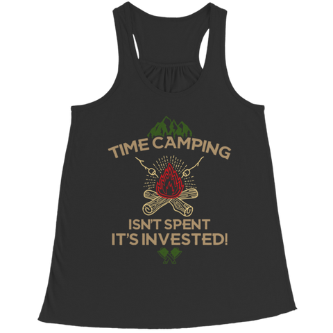 """Time Camping Isn't Spent: It's Invested!"" Bella Flowy Racerback Black Tank Top"