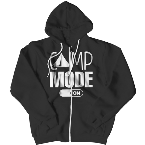 """Camp Mode On"", Black-Colored Zipper Hoodie"