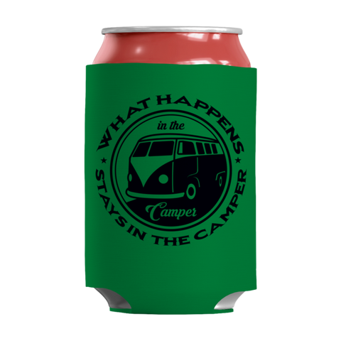 """What Happens In The Camper, Stays In The Camper"" 12 Oz Soda And Adult Beverage Can Kelly(Green) Insulator/Sleeve/Wrap"