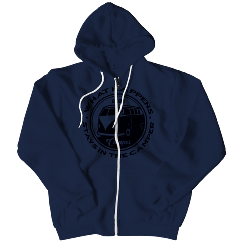 """What Happens In The Camper, Stays In The Camper"" Navy-Blue Zipper Hoodie"