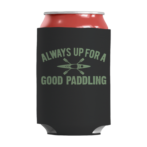 """Always Up For A Good Paddling"", Black-Colored, 12 Oz Soda And Adult Beverage Can Insulator/Sleeve/Wrap"
