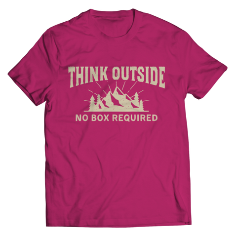 """Think Outside. No Box Required"" Unisex Pink T Shirt"